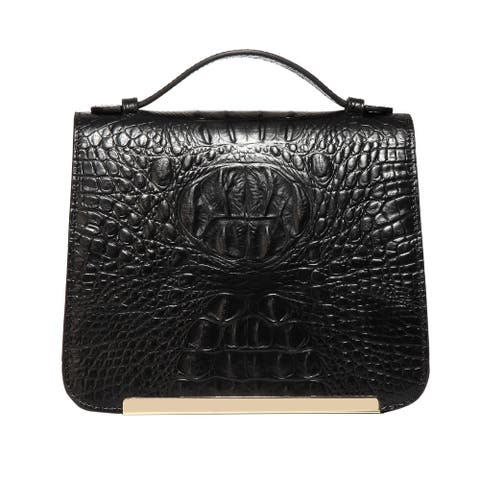 Inaya Croc Embossed Leather Crossbody Handbag