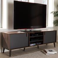 Mid-Century Brown and Grey TV Stand by Baxton Studio