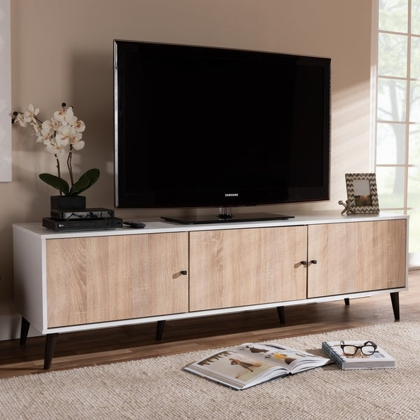 Mid Century White And Oak Tv Stand By Baxton Studio