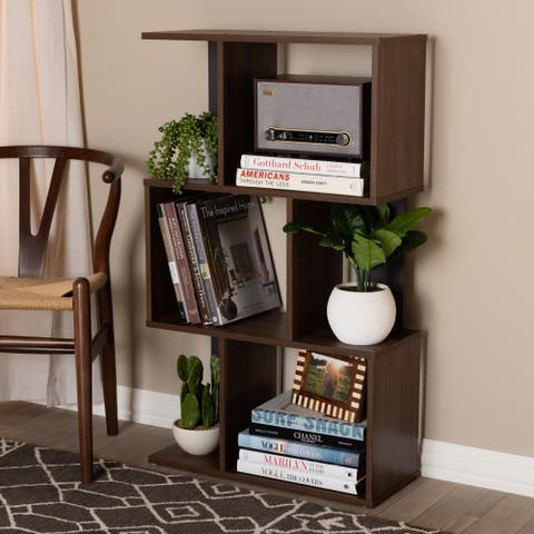 Contemporary Brown and Grey Shelf by Baxton Studio