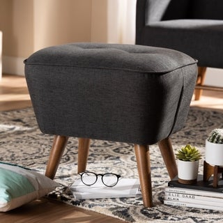 Mid-Century Fabric Upholstered Ottoman by Baxton Studio