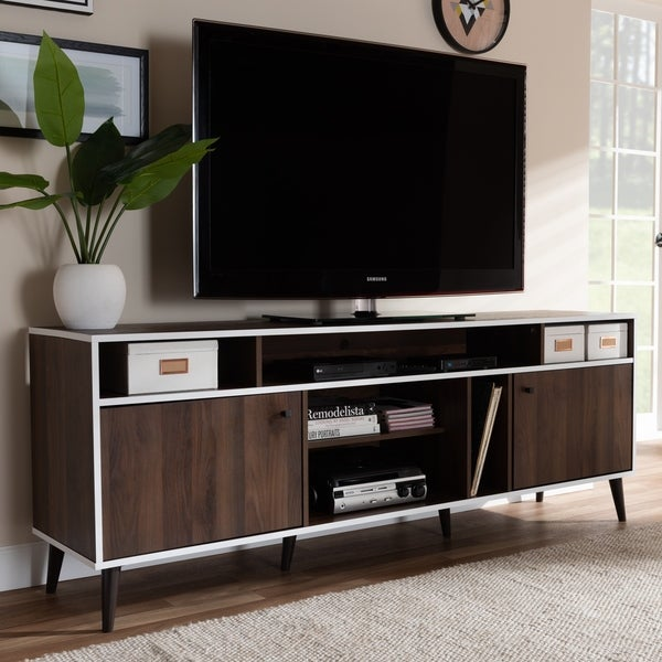 Shop Mid Century Brown And White Tv Stand By Baxton Studio On Sale