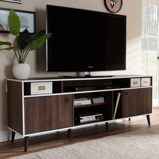 Mid-Century Brown and White TV Stand by Baxton Studio