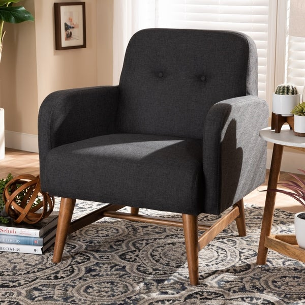 Shop Mid Century Fabric Upholstered Lounge Chair By Baxton