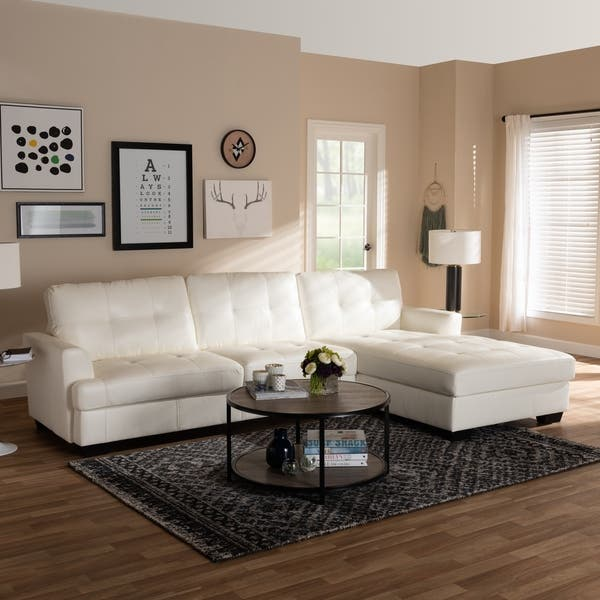 Shop Contemporary White Faux Leather Sectional Sofa by ...