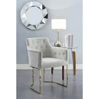 Chic Home Minori Accent Chair Button Tufted Linen Upholstered