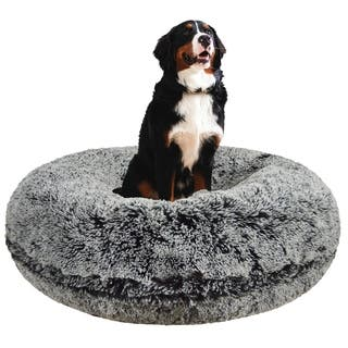 Bessie and Barnie Signature Midnight Frost Luxury Shag Extra Plush Faux Fur Bagel Pet / Dog Bed