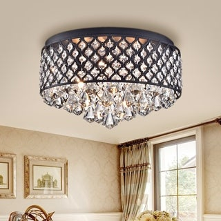 Petunia Black 4-Light Flushmount with Crystal Clear Shade