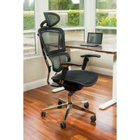 ErgoMax Ergonomic Adjustable Executive Office Chair w/ Headrest and Black Mesh