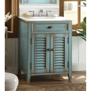 "26"" Benton Collection Abbeville Rustic Blue Bathroom Vanity"