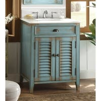 "26"" Benton Collection Abbeville Rustic Blue Bathroom Vanity"