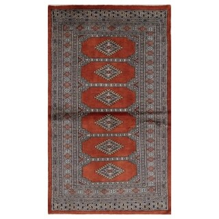 Handmade Herat Oriental Pakistani Hand-knotted Bokhara Wool Rug (3' x 5'3)