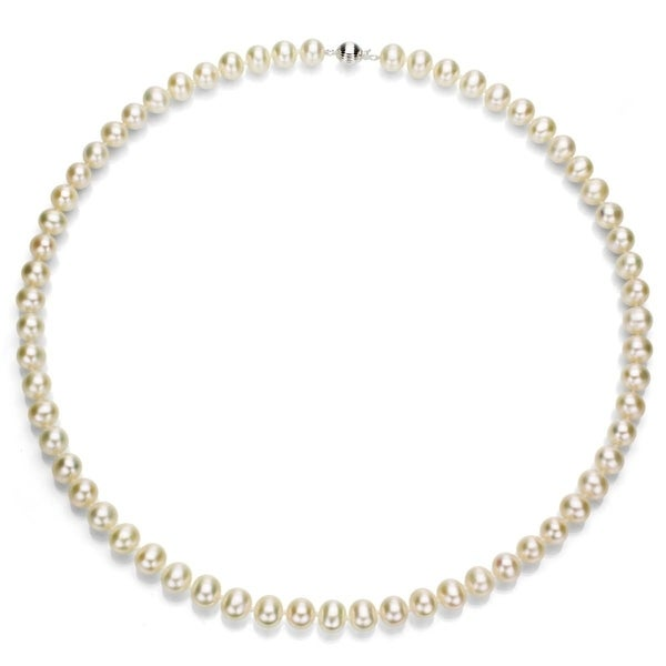 """Natural White Akoya Freshwater Pearl Necklace 18/"""" New 6-7mm"""