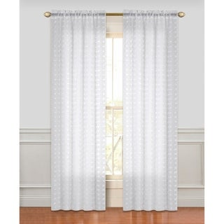 Dainty Home Cut Flower Linen-Look Semi-Sheer with 3D Flowers Rod Pocket Window Curtain Panel Pair