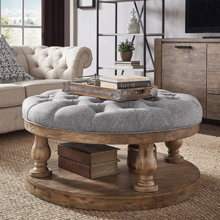 Knightsbridge Tufted Linen Baluster 40-inch Round Cocktail Ottoman by iNSPIRE Q Artisan