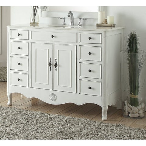 """46.5"""" Benton Collection Daleville Antique White Shabby Chic Vanity"""