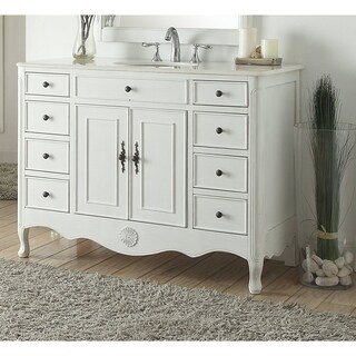 """46.5"""" Benton Collection Daleville Antique White Shabby Chic Vanity (2 options available)"""