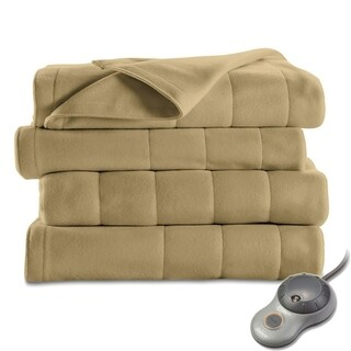 Sunbeam Heated Electric Blanket Quilted Fleece Full Size Acorn