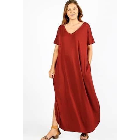 JED Women's Plus Size Comfy Fit V-Neck Maxi Casual Dress
