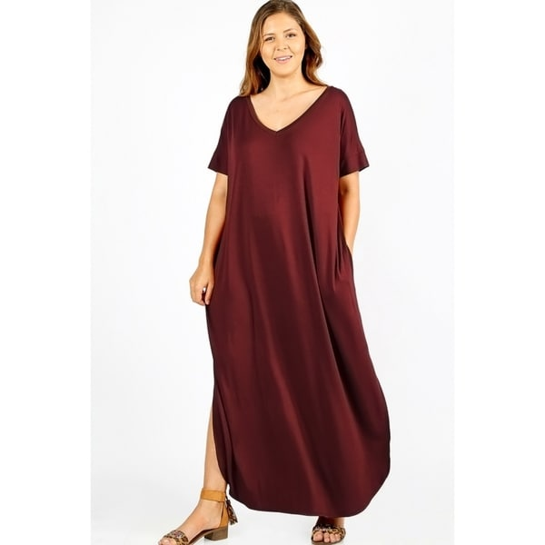 JED Women's Plus Size Comfy Fit V-Neck Maxi Casual Dress. Opens flyout.
