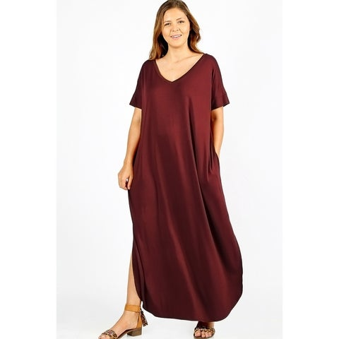 JED Women's Plus Size Comfy Fit V-Neck Maxi Casual Dress