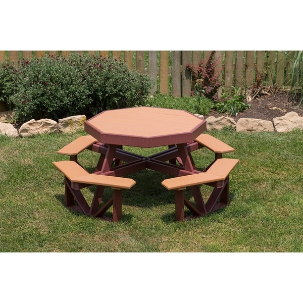 Shop Poly Kids Octagon Brown Recycled Plastic Picnic Table Free - Recycled plastic hexagonal picnic table