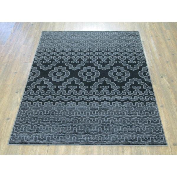 Shop Silver Grey BLACK Large Industrial Faux Wool Area Rug ...