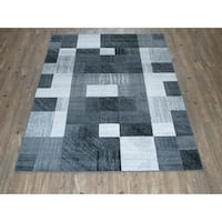 Silver Grey BLACK Large Contemporary Faux Wool Area Rug - 5'3 x 7'5