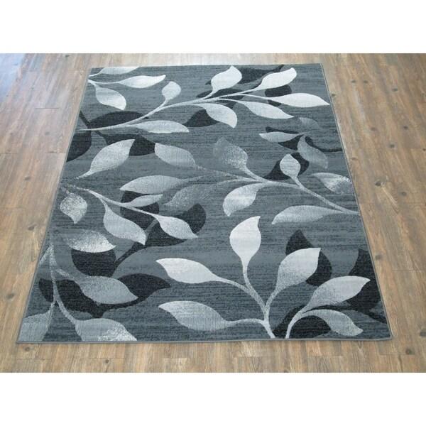 Shop Modern Silvertone/Grey/Black Faux Wool Large Area Rug ...