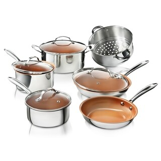 Gotham Steel 10PC Stainless Steel Nonstick Copper Cookware Set