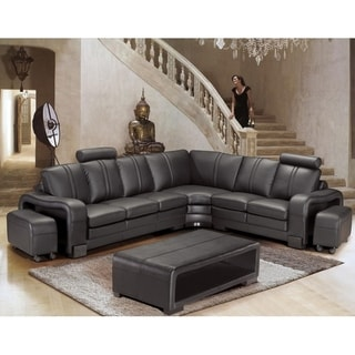 Brentwood Black Leather 6-piece Sectional Sofa