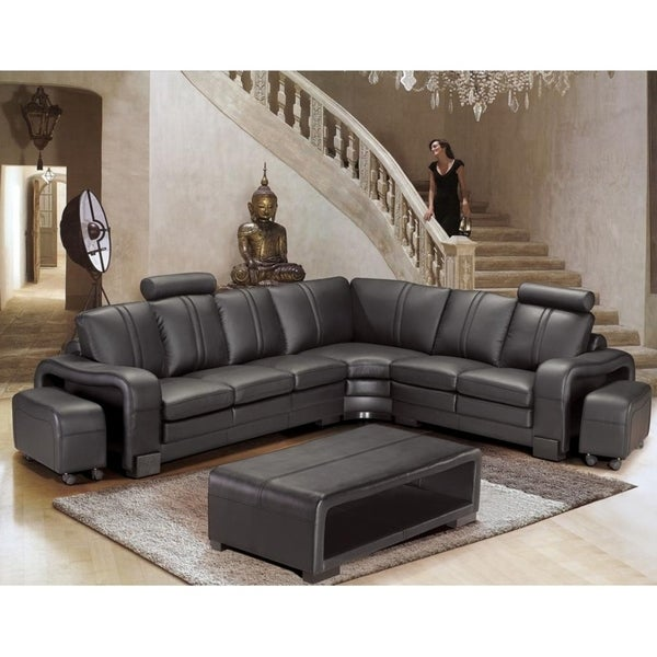 Shop Brentwood Black Leather 6 Piece Sectional Sofa Free