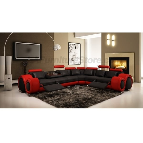 Shop The Arcadia Two Toned Leather 3 Piece Recliner Sectional Sofa