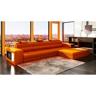 The Yorkdale 3-piece Leather Sectional (Option: Orange)