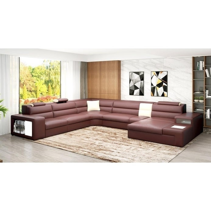 Pleasant The Bellagio Bonded Leather 5 Piece Sectional Beutiful Home Inspiration Xortanetmahrainfo