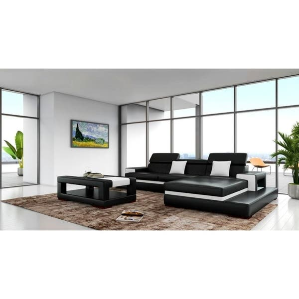Sensational Shop Sofia Black White Leather Wood 3 Piece Sectional Free Spiritservingveterans Wood Chair Design Ideas Spiritservingveteransorg