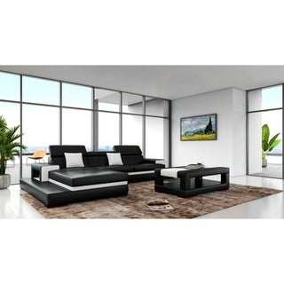 Sofia Black White Leather Wood 3-piece Sectional