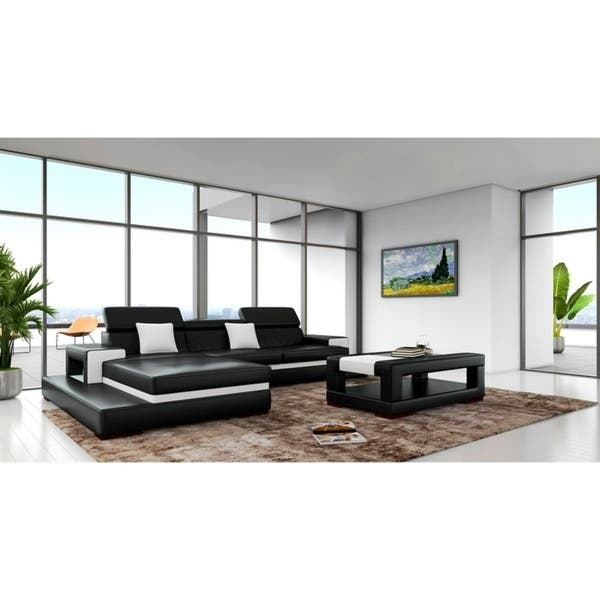 Pleasant Shop Sofia Black White Leather Wood 3 Piece Sectional Free Spiritservingveterans Wood Chair Design Ideas Spiritservingveteransorg