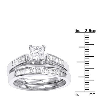 1 Carat Princess Diamond Engagement Ring Set with Band in 14k Gold G-H Color by Luxurman (More options available)