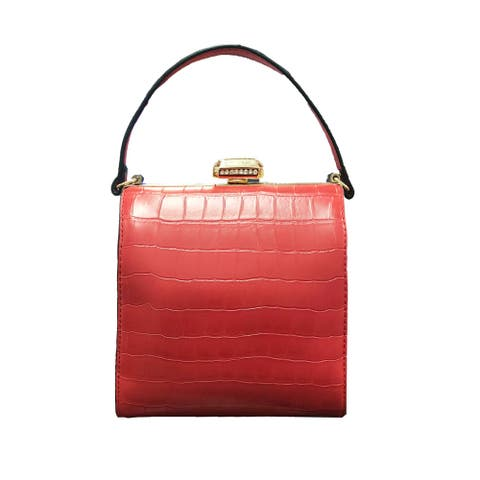 Diophy PU Leather Debossed Structured Top Handle Bag
