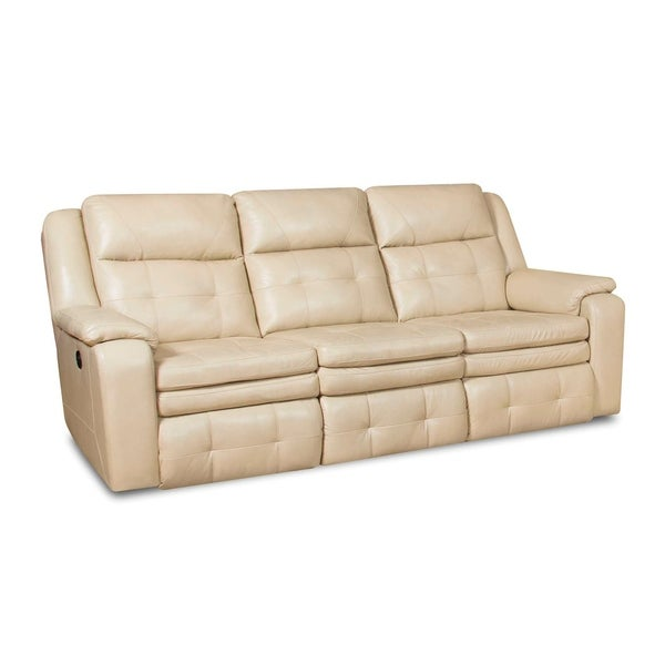 Inspire Cream Leather Double Reclining Sofa