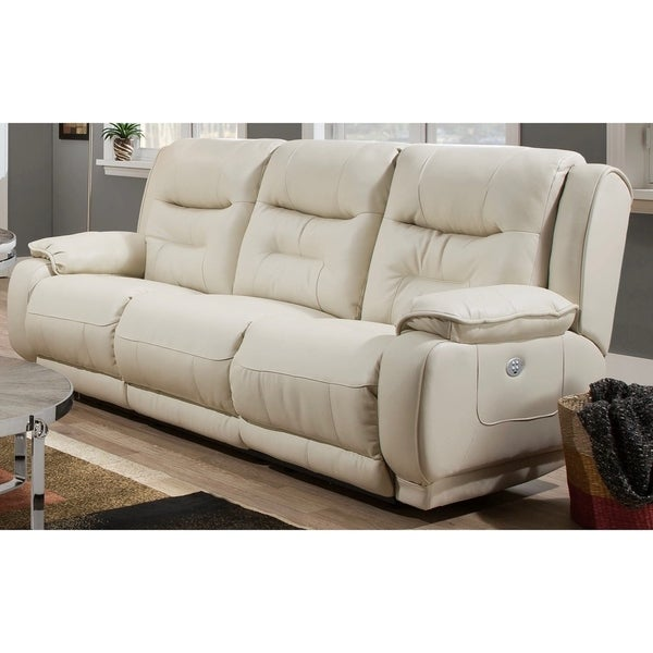 Shop Crescent Power Cream Polyfoam Leather Headrest Sofa Free