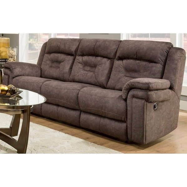 Oliver James Merritt Brown Microfiber Reclining Sofa