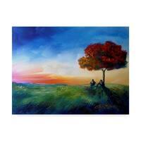 Cherie Roe Dirksen 'Sitting Under A Tree' Canvas Art - Blue