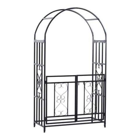 """Outsunny 45"""" x 20"""" x 81"""" Steel Metal Decorative Backyard Arch Arbor with Gate"""