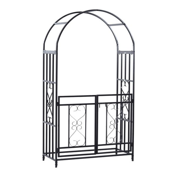 """Outsunny 45"""" x 20"""" x 81"""" Steel Metal Decorative Backyard Arch Arbor with Gate. Opens flyout."""