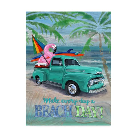 Cindy Fornataro 'Beach Day Flamingo' Canvas Art - Grey