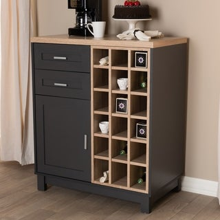 Contemporary Grey and Oak Wine Cabinet by Baxton Studio