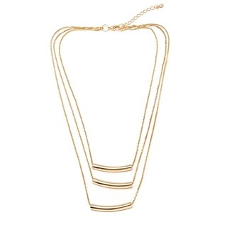 Gold Plated Gold Triple Strand Necklace with Bar Beads