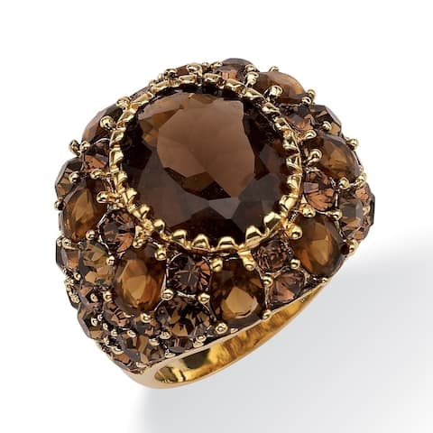 Yellow Gold-Plated Genuine Quartz and Crystal Ring